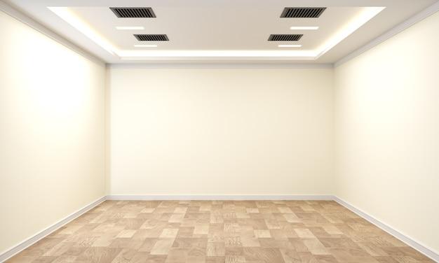 白い壁に植物や木製の床があるビジネスインテリア。 3dレンダリング