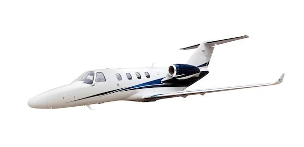 白で隔離されるビジネスジェット飛行機