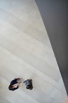 Бизнес-леди пожимают друг другу руки в холле