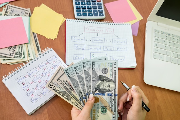 Business lady counting dollar banknotes for realizing of business plan