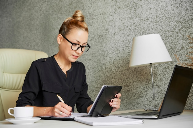 Business lady filling form