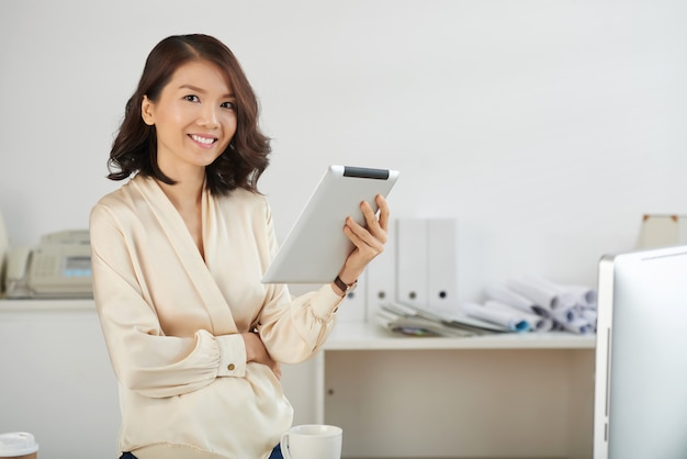Business lady with tablet computer
