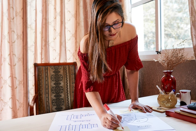 Business lady working with papers