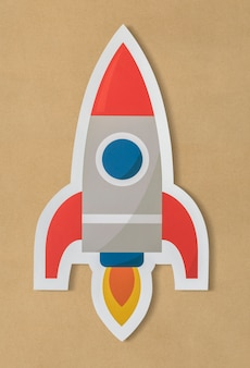 Business launching rocket ship icon