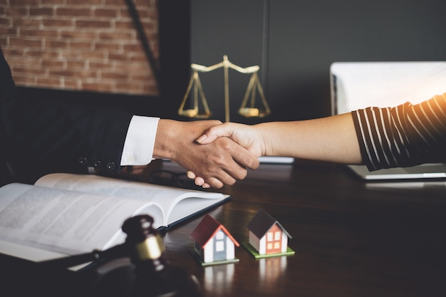 Business lawyer and partnership consult and meeting concept