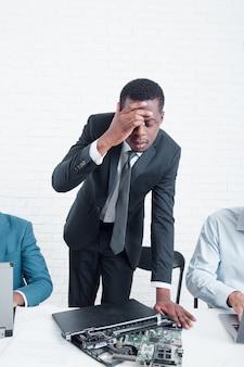 Business leader worried because laptop is broken