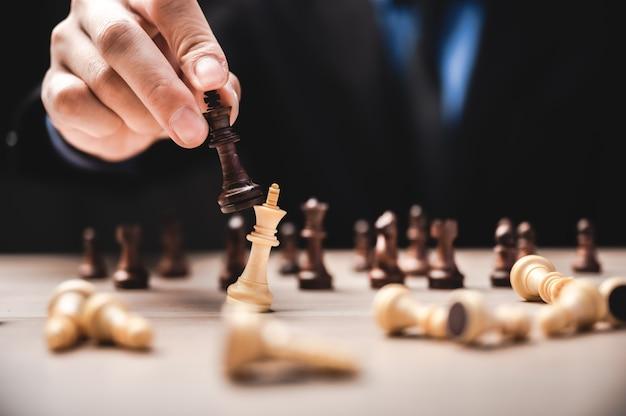 チェスのビジネスリーダーシップ、チームワーク力、自信の概念