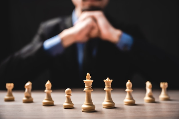Business leadership, teamwork power and confidence concept with  chess