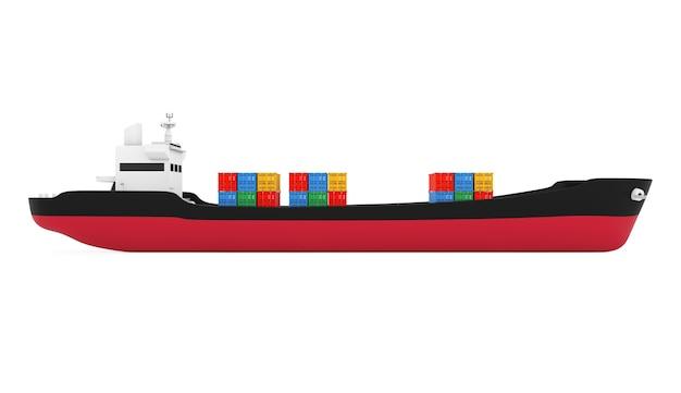 Бизнес-концепция логистики. танкер или контейнеровоз на белом фоне. 3d рендеринг
