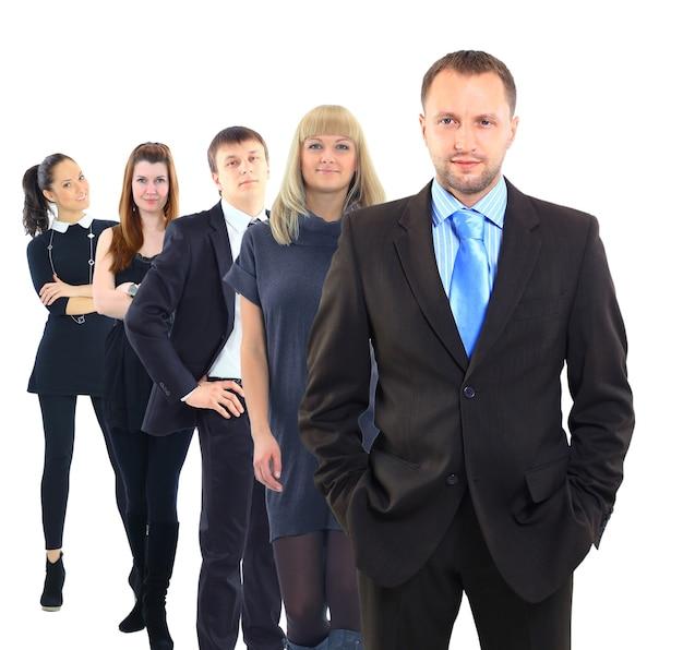 비즈니스 남자와 그의 팀 흰색 배경 위에 절연