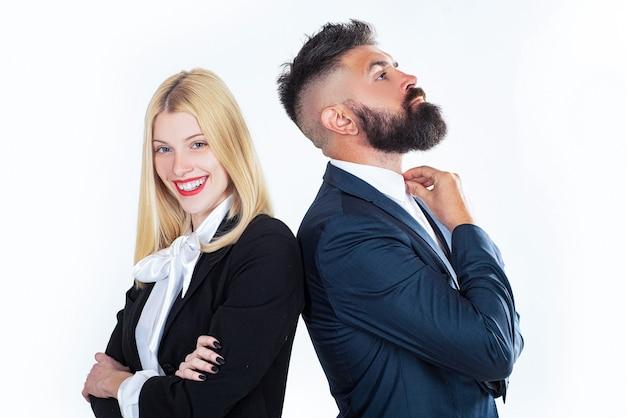 Деловой мужчина и портрет женщины на белом фоне. бизнес-концепция