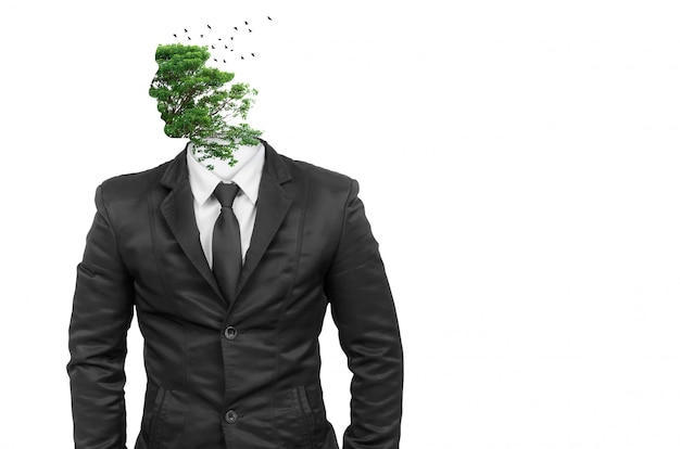 Business man body in black isolated with tree head abstract.