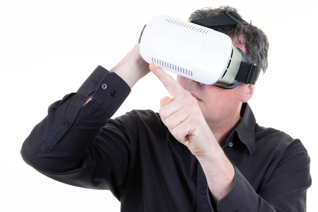 Business man enjoy with virtual reality glasses isolated