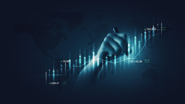 Business man holding financial pen chart and writing finance market investment stock of growth technology exchange graph analysis on success background with economy profit digital data money concept.