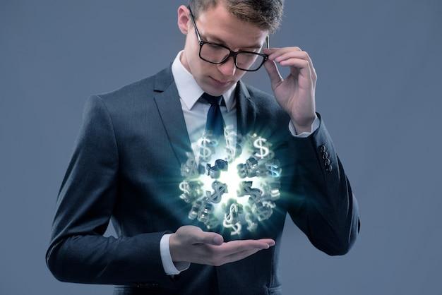 Business man holding a millionaire idea