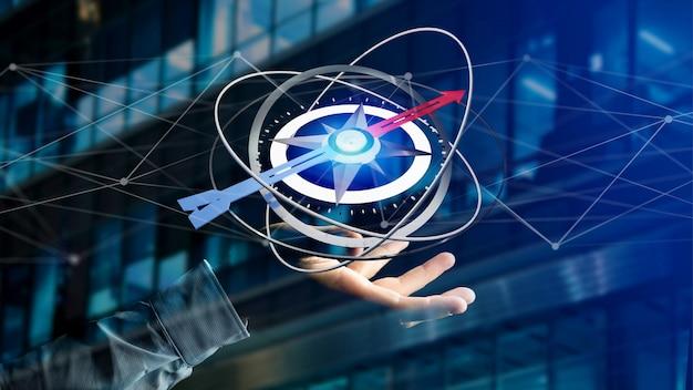 Business man holding a navigation compass - 3d rendered