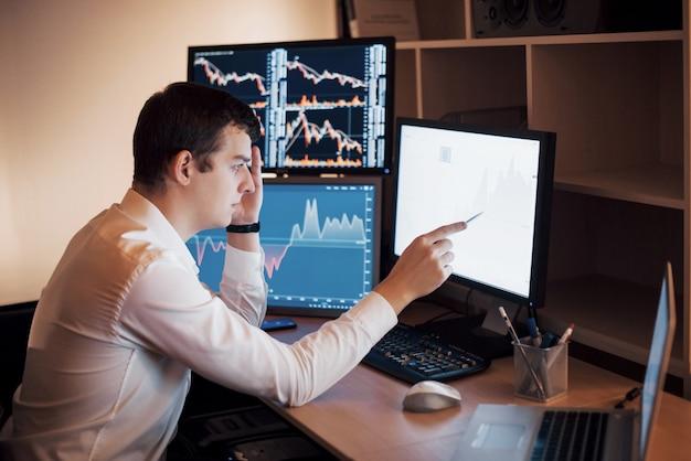비즈니스 맨 투자 거래는 증권 거래소 에서이 거래를 수행합니다. 사무실에서 일하는 사람들.