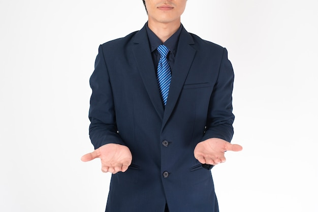 Business man is holding something on white background