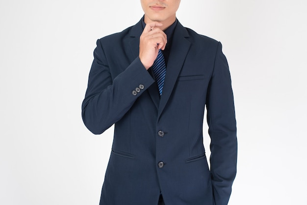 Business man is thinking   on white background