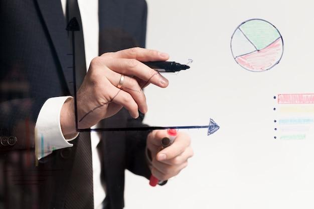 Business man making charts