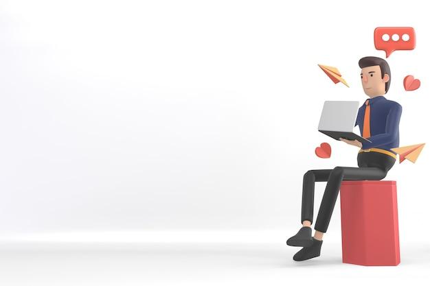 비즈니스 사람이 제품 이미지를 배치하기 위해 배경에 조롱. 3d 렌더링