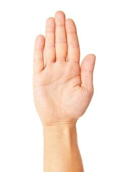 비즈니스 남자의 손에 흰색 절연 중지 기호를 확인