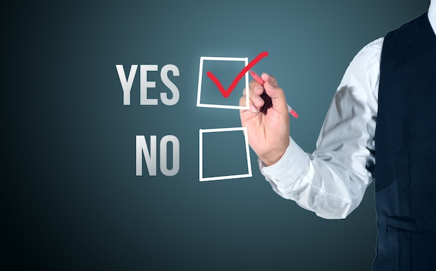 Business man select yes or no evaluation