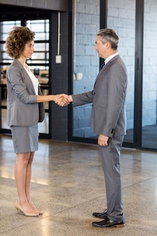 Business man shaking hands with business woman in office