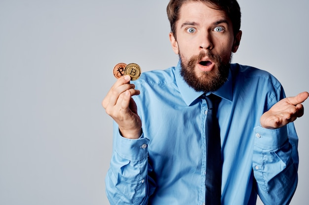 Business man in shirt with tie cryptocurrency economy finance cash