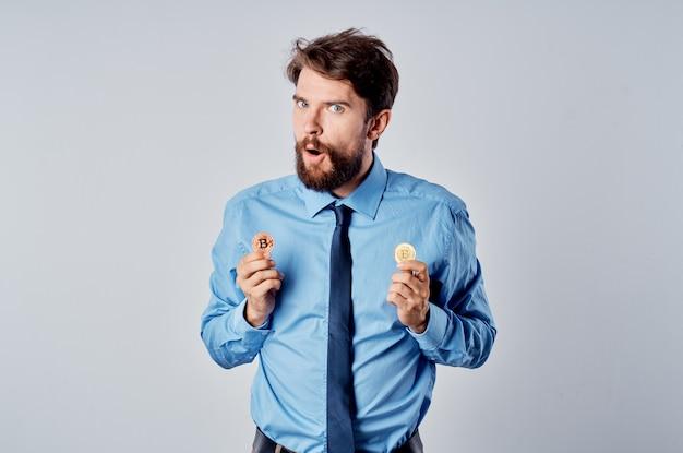 넥타이 암호 화폐 기술 금융 비즈니스 남자 셔츠. 고품질 사진