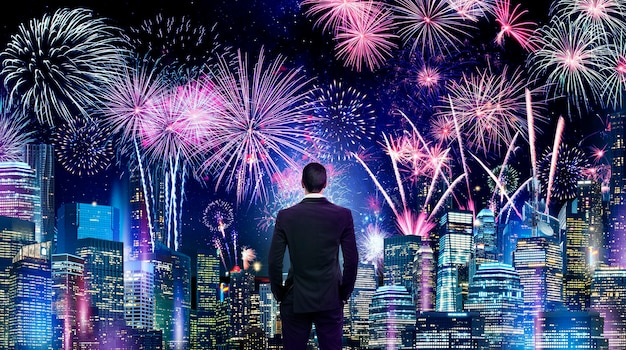 Business man stand at building in the city and firework background