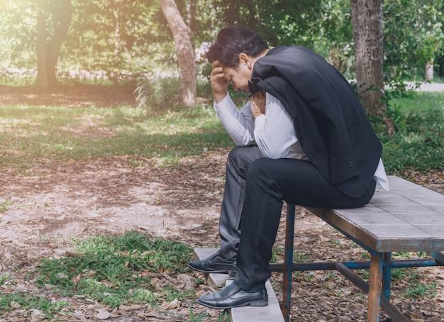 Business man stress and sad
