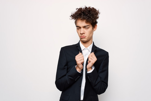 Business man in suit curly hair confident elegant style