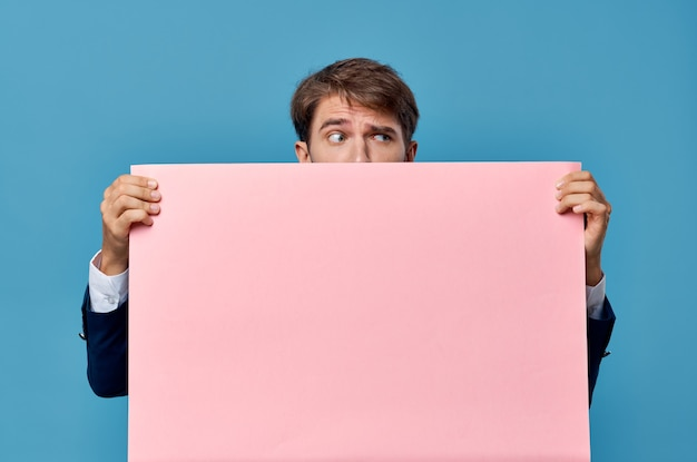 Business man in suit pink mockup cropped view isolated wall advertising.