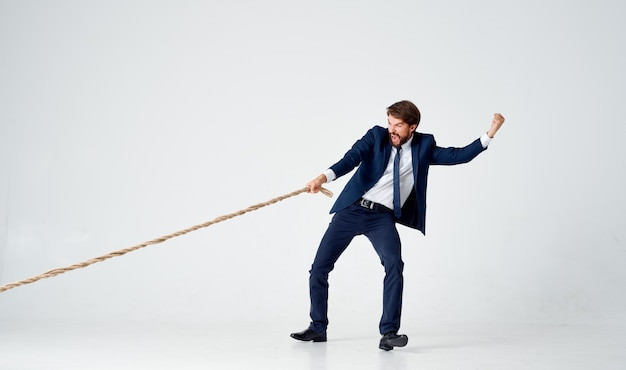 Business man in suit work office rope career. high quality photo