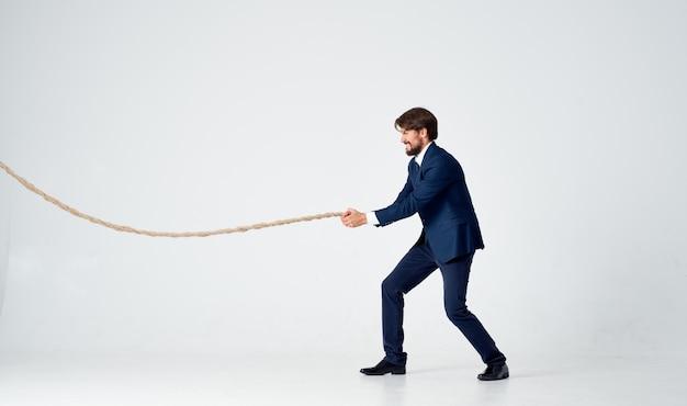 Business man in suit work office rope career