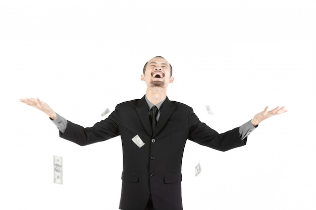 Business man with money isolated on white