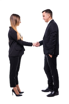 Uomo d'affari e donna in suite nera su bianco buon affare concetto