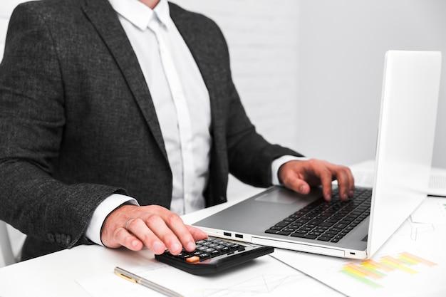 Business man working in a office desktop