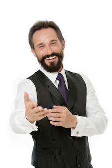 Бизнес-менеджер гарантирует обслуживание клиента. готов помочь вам. бизнесмен классической формальной одежды веселое лицо. советы бизнесмену успеха. если хочешь добиться успеха, должен знать. чем могу помочь.
