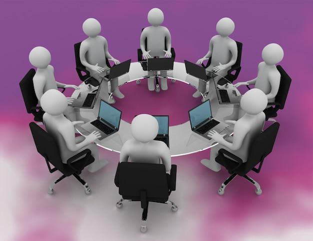 ビジネス会議のコンセプト。 3dレンダリングされたイラスト