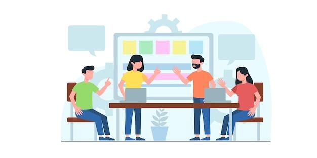 ビジネス会議フラットイラスト。ビジネスワークフロー、時間管理、計画、タスクアプリ、チームワークの概念。 webバナー、マーケティング資料、ビジネスプレゼンテーションのクリエイティブなフラットデザイン