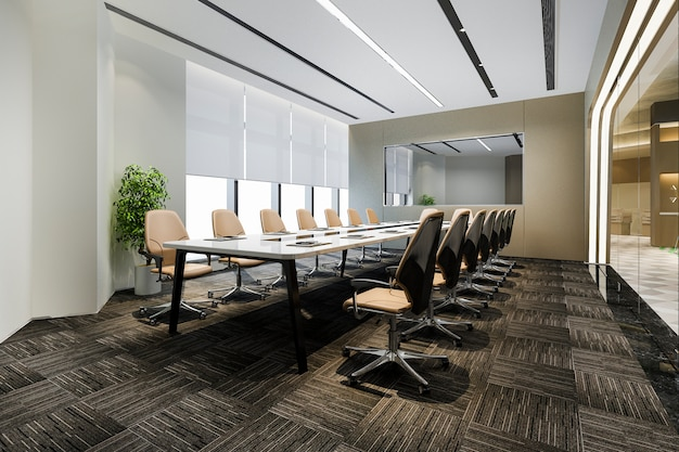 Business meeting room on high rise office building near reception