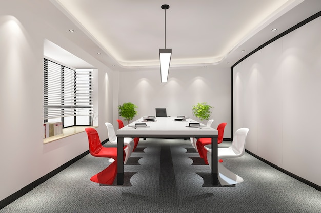 Business meeting room on high rise office building with colorful decor furnture