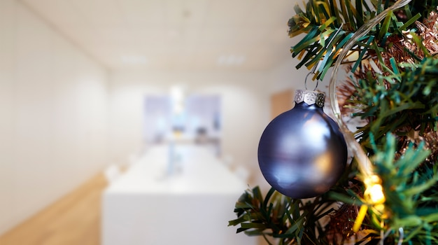 Business meeting room in office and merry christmas tree