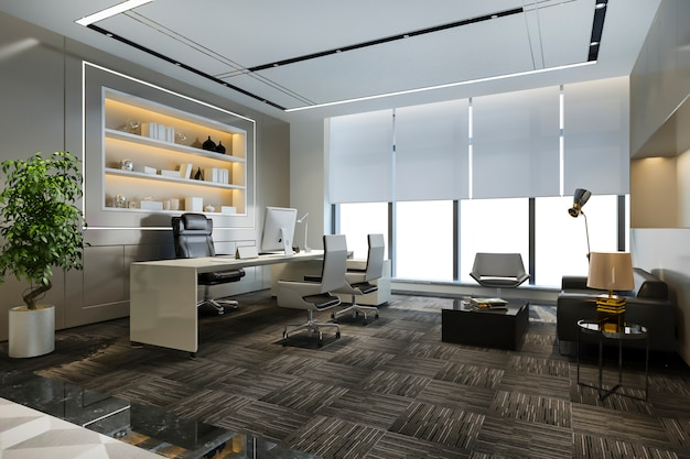Business meeting and working room in executive office