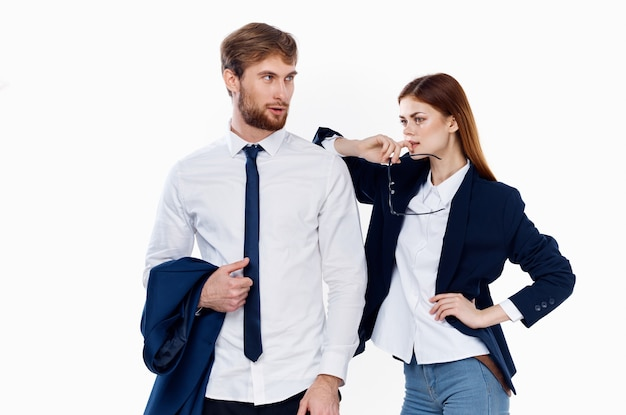 Business men and women finance office communication