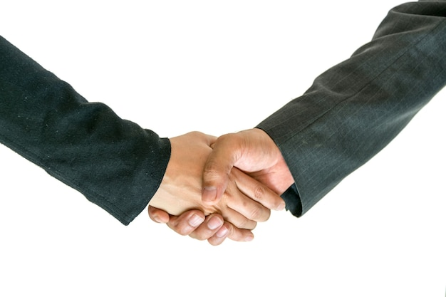 Business men and women shaking hands with each other to work together.