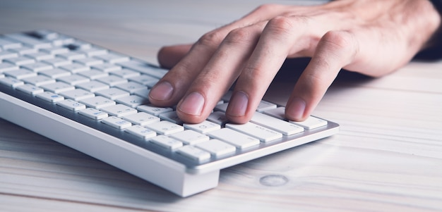 Business men working on modern computer