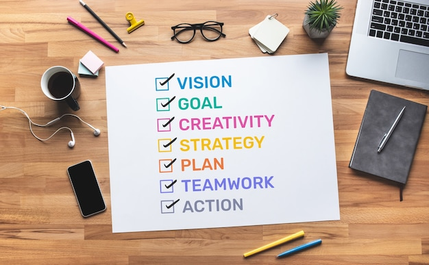 Business motivation with policy word to success.vision of worker